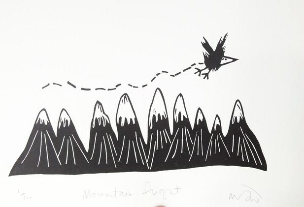 Melanie Wickham - 'Mountain Flight' Limited Edition Lino Print