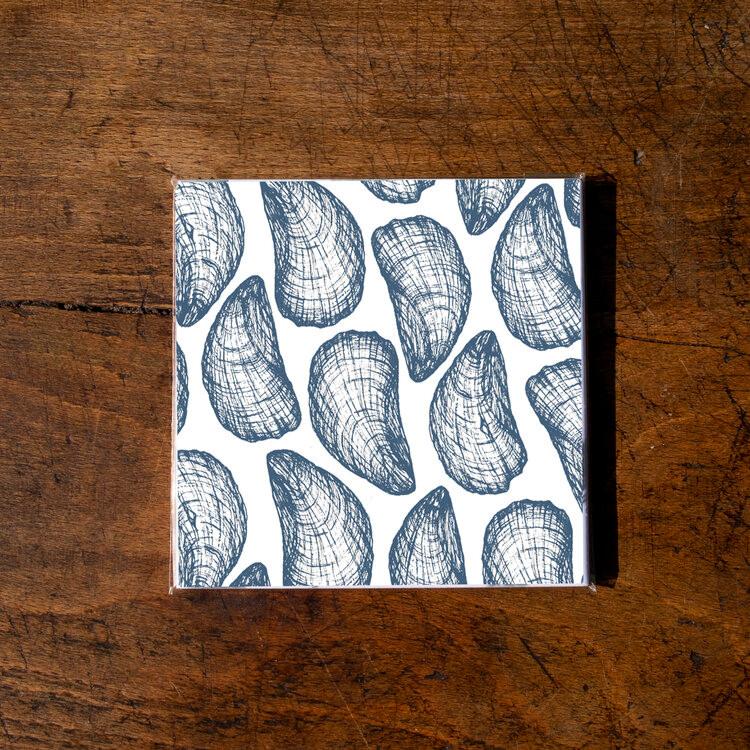 Ellie Davidson-Archer - Mussel shell ceramic coaster pack of 4 (white)