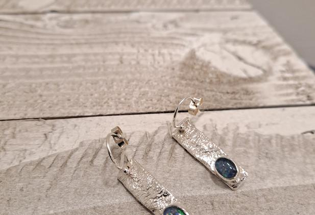 Sally Ratcliffe - Rectangle earrings opal
