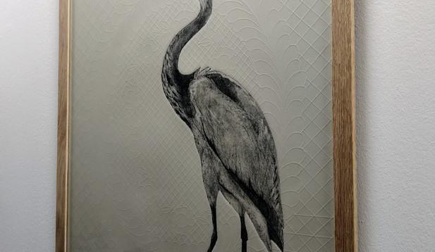 Marian Haf - Framed Heron on grey quilt paper