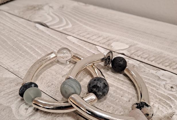 Mellisa James Jewellery - Silver tube and stone bracelet