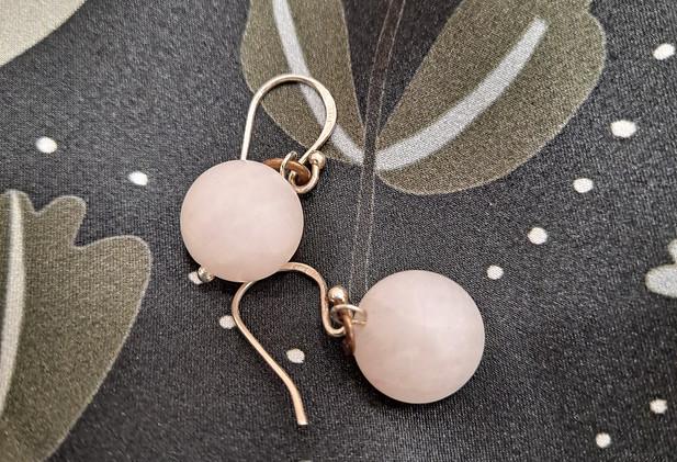 Mellisa James Jewellery - Matt rose quartz earrings