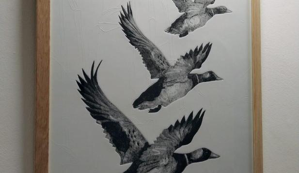 Marian Haf - Framed three ducks on textured paper