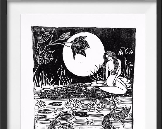Amy Cundall - Lino Print 'Carp Pond and Mermaid' in Black on White