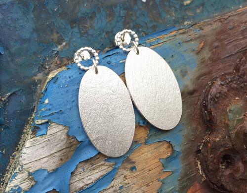 Oval Driftwood Drop Earrings
