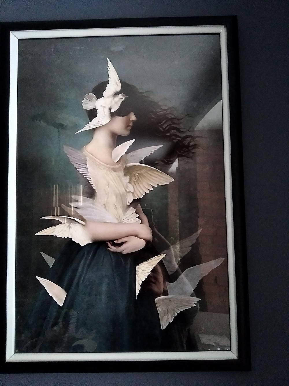 "Постер ""Девушка с голубями"""