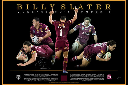 Signed, framed & authenticated - Billy Slater lithograph incl. piece of jersey
