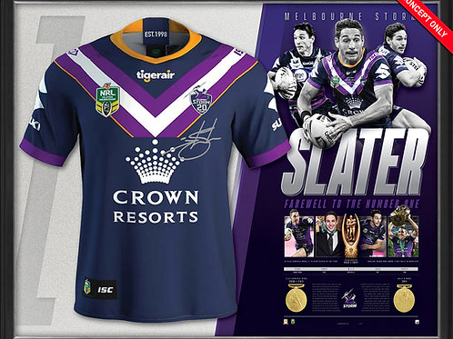 Billy Slater - Melbourne Storm - signed, numbered & framed jersey