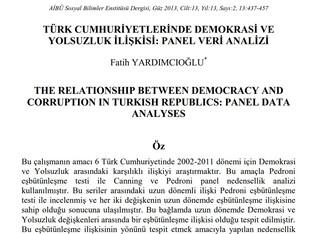 Türk Cumhuriyetlerinde Demokrasi ve Yolsuzluk İlişkisi: Panel Veri Analizi