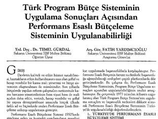 Türk Program Bütçe Sisteminin Uygulama Sonuçları Açısından Performans Esaslı Bütçeleme Sisteminin Uy
