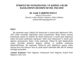 Türkiye'de Fonksiyonel ve Kişisel Gelir Dağılımının Değişim Seyri: 1963-2010