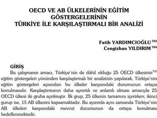 OECD ve AB Ülkelerinin Eğitim Göstergelerinin Türkiye ile Karşılaştırmalı Bir Analizi