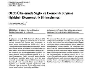 OECD Ülkelerinde Sağlık ve Ekonomik Büyüme İlişkisinin Ekonometrik Bir İncelemesi