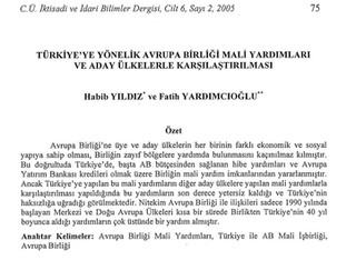 Türkiye'ye Yönelik Avrupa Birliği Mali Yardımları ve Adaya Ülkelerle Karşılaştırılması