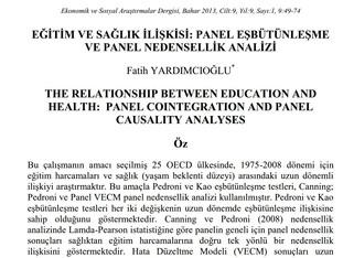 Eğitim ve Sağlık İlişkisi: Panel Eşbütünleşme ve Panel Veri Analizi