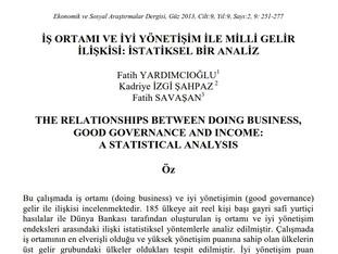 İş Ortamı ve İyi Yönetişim ile ile Milli Gelir İlişkisi: İstatistiksel Bir Analiz