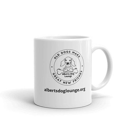 Albert's Dog Lounge Hero White glossy mug