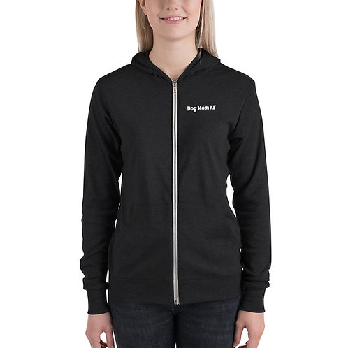 Dog Mom AF lightweight zip-up hoodie