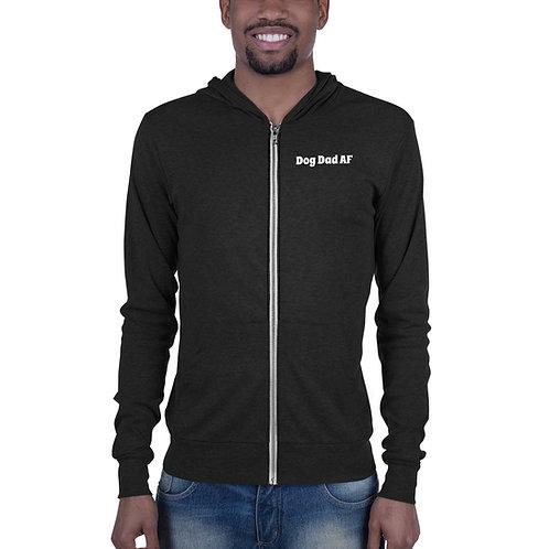 Dog Dad AF lightweight zip-up hoodie
