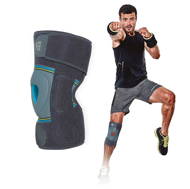 Wraparound knee support with polycentric joint