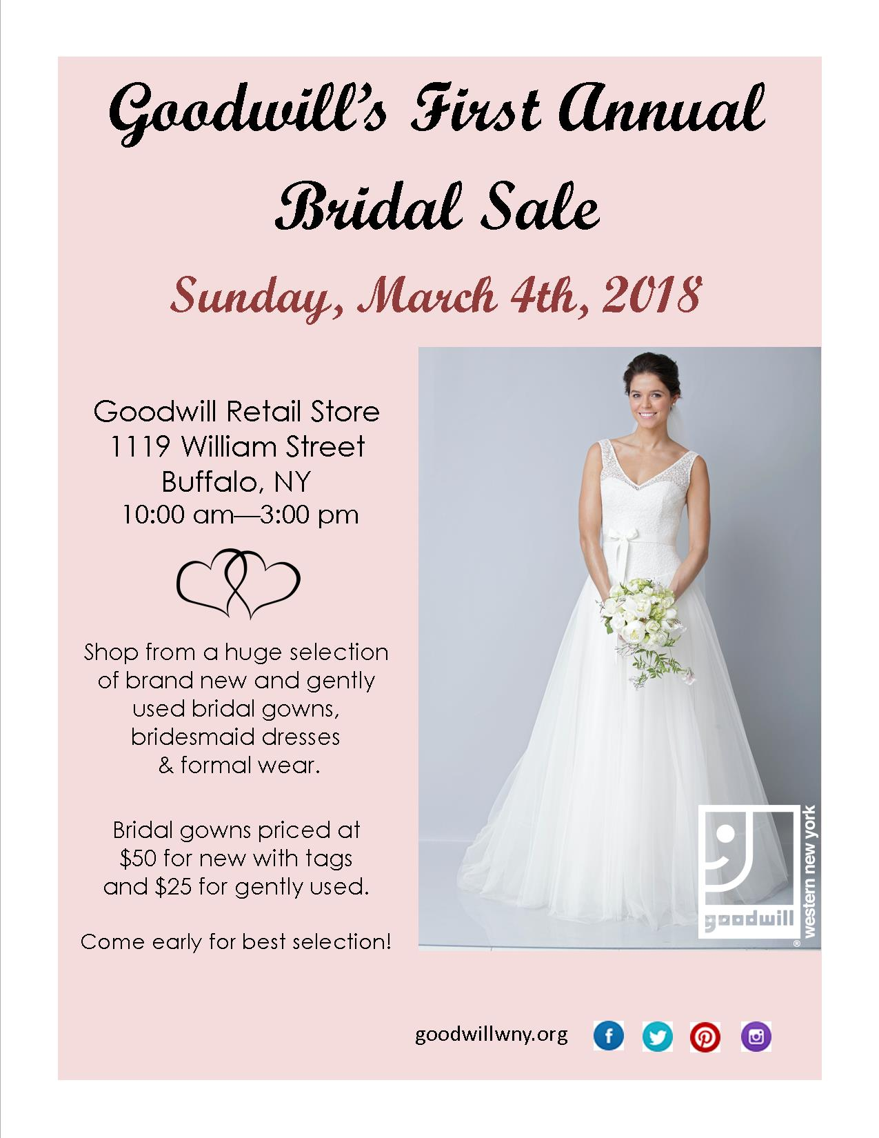 Goodwill To Hold First Annual Bridal Sale Goodwill Of Western New