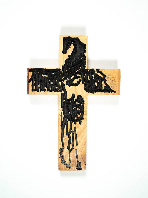 Wooden cross with Jesus picture