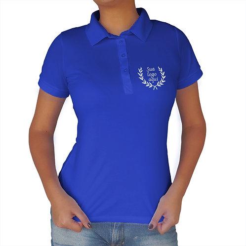 Polo Feminina Azul Royal Bordada