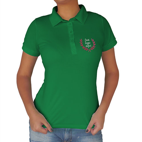 Polo Feminina Verde Bordada
