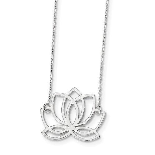 SS Neclace Lotus Flower 18in