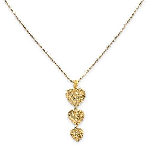 YG Necklace 10kt Triple Heart