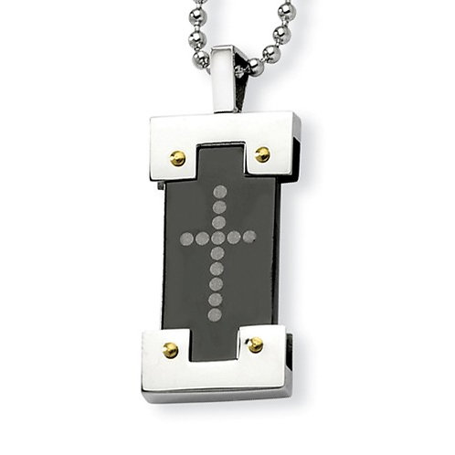 STST Necklace Cross & Bead