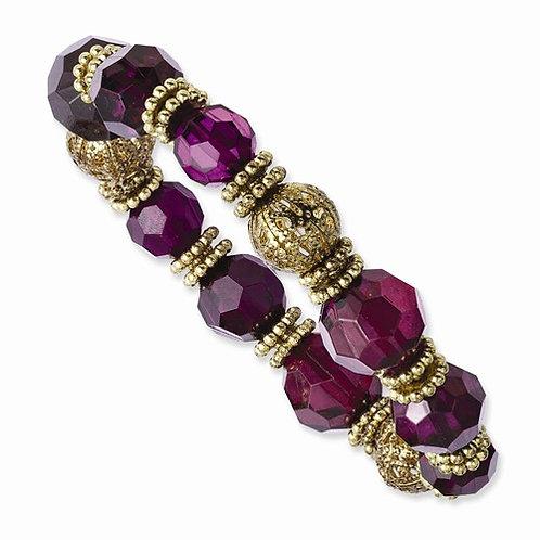 CJ Stretch Bracelet Purple Stones