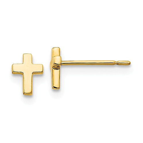YG Earrings Stud Cross 14kt HJ0597