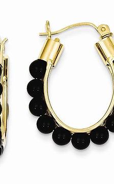 YG EarrinOnyx Beads 14kt