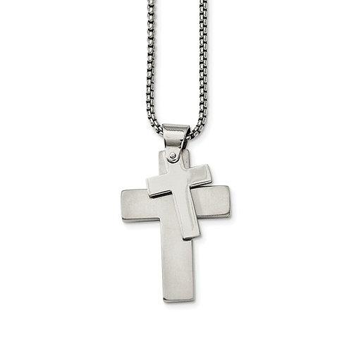 STST Necklace Cross & Weave