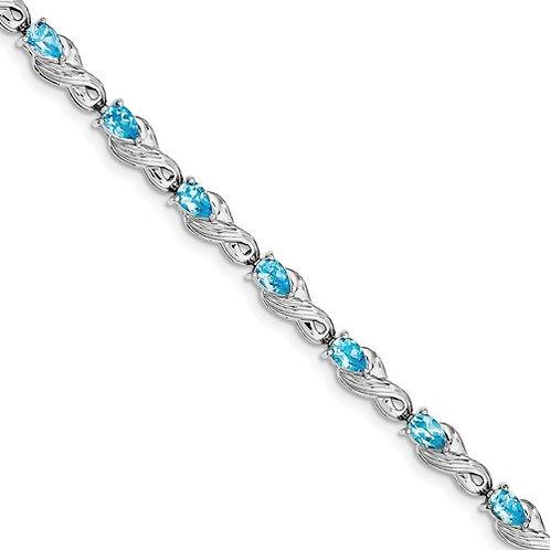 SS Bracelet Blue Topaz