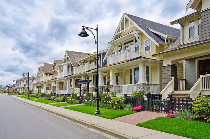 A perfect neighborhood. Houses in suburb