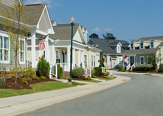 Street of residential cottage style home
