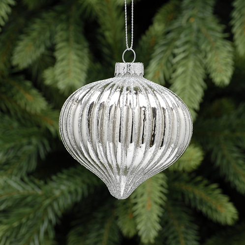 Silver Onion With Silver Glitter Ridges at The Sussex Christmas Barn