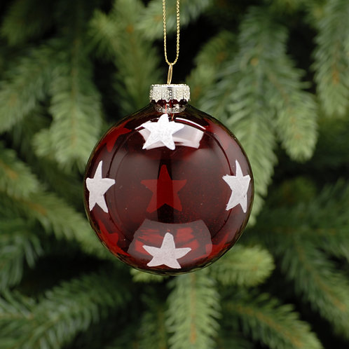Transparent red with white star glass ball - 7cm