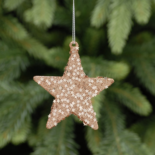 Rose Gold Glass Star at The Sussex Christmas Barn