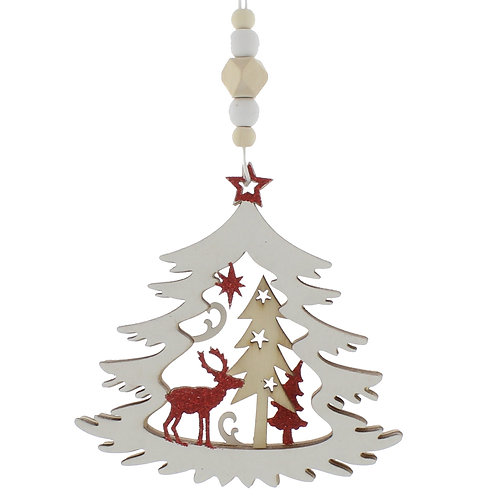 White Wooden Cut Christmas Tree With Reindeer Scene at The Sussex Christmas Barn
