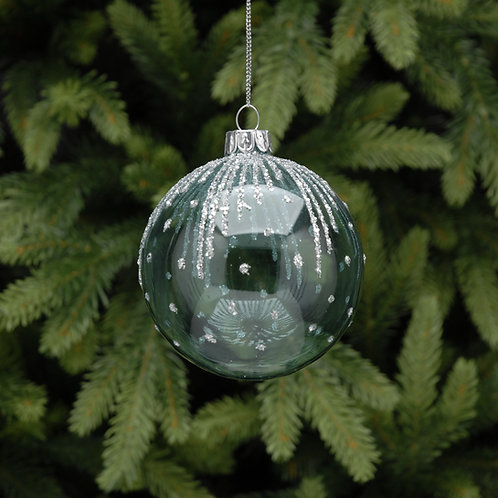 Blue Glass Ball with Silver Fringe Design at The Sussex Christmas Barn