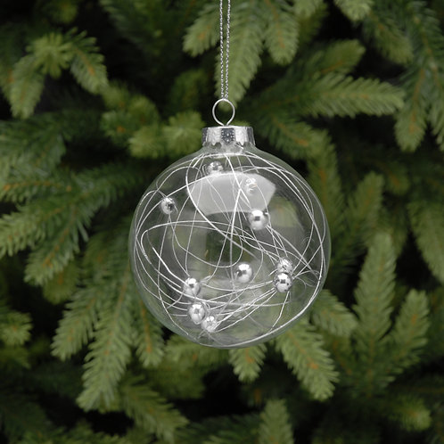 clear glass ball with beads inside at Sussex Christmas Barn