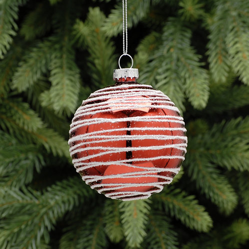 Red Glass Ball With White Stripes at The Sussex Christmas Barn