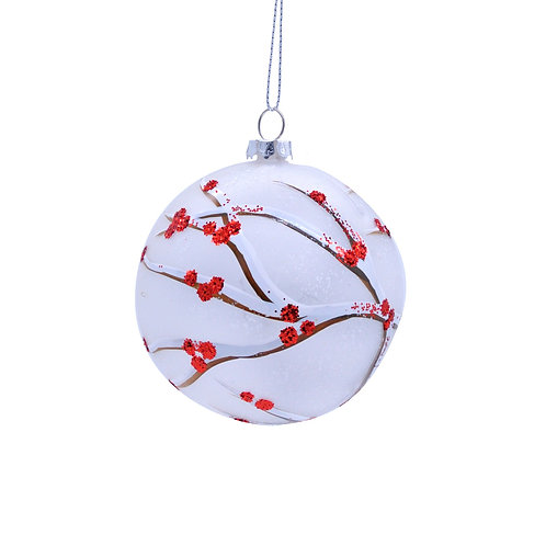 Frosted Ball With Red Twig Design at The Sussex Christmas Barn