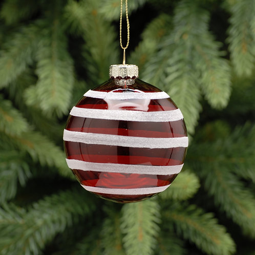 Transparent Red Glass Ball With White Stripes at The Sussex Christmas Barn