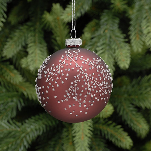 Burgundy Glass Ball With Frosted Design at The Sussex Christmas Barn