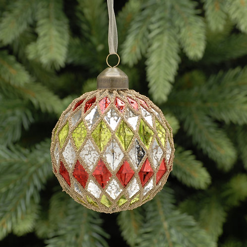 Silver, Red & Green Diamond Cross Glass Ball at The Sussex Christmas Barn
