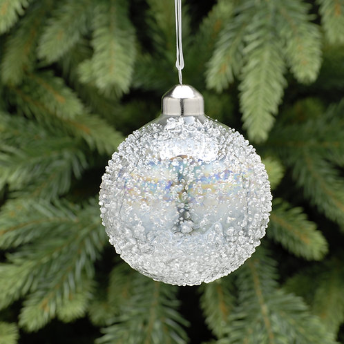 Clear Iridescent Crusted Glass Ball at  The Sussex Christmas Barn